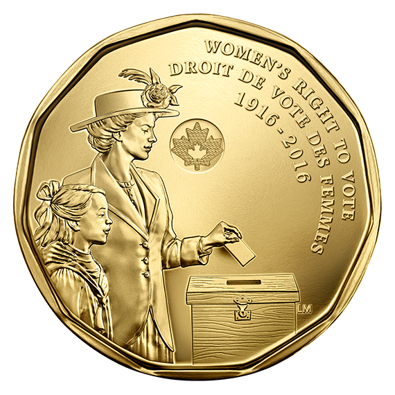 CANADA 2016 WOMEN/'S RIGHT TO VOTE 100TH ANNIVERSARY DOLLAR COIN