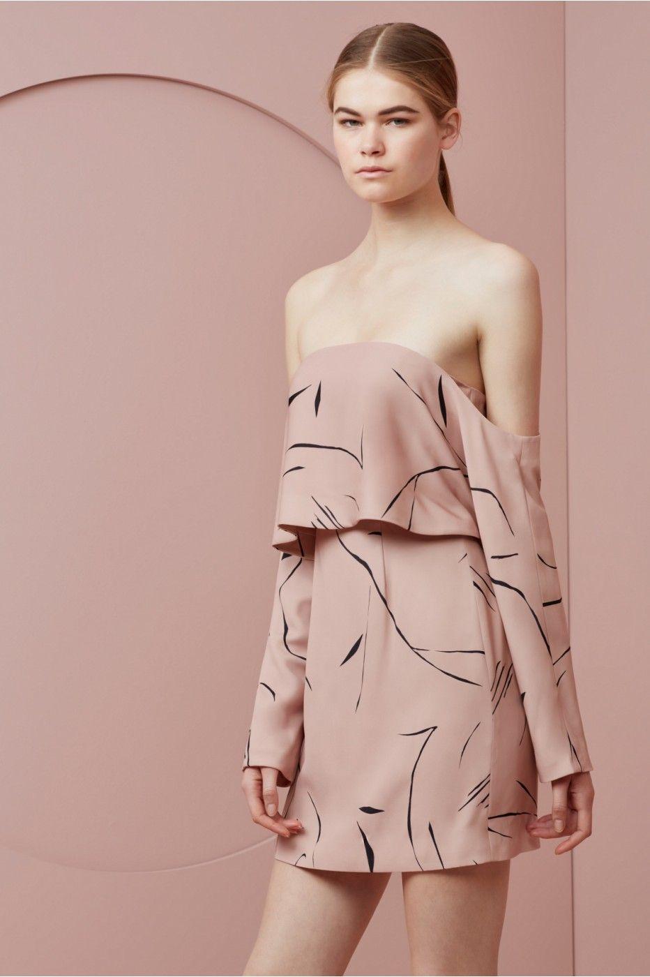 Stolen dance long sleeve dress rose sketch print dresses long