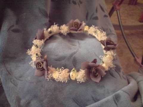Manualidades como hacer diadema o corona flores lazos y