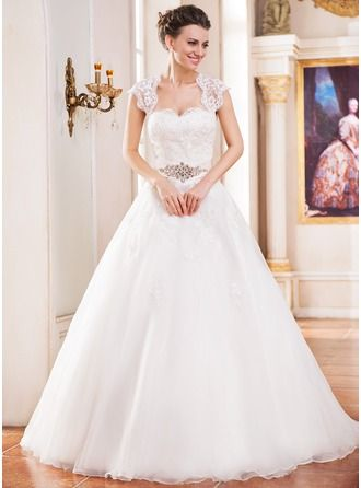 ballgown sweetheart cathedral train organza wedding dress with lace beading  hochzeitskleid