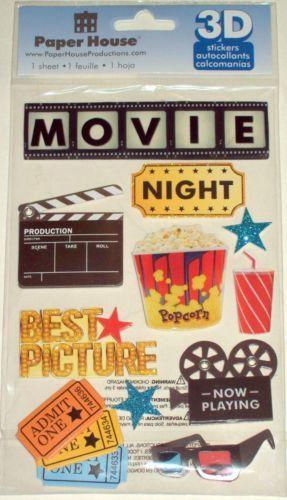 Paper House 3d 1 Pk Movie Night Stickers Nip Ebay Jolee Stickers
