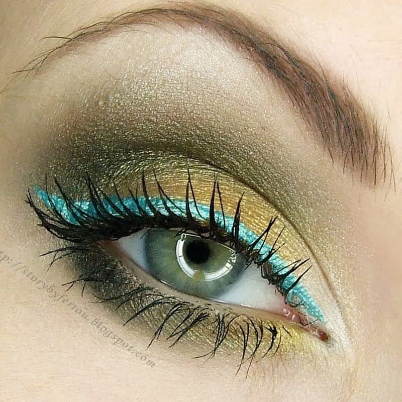 Shimmery Gold & Turquoise Liner by Joanna D   Preen.Me ...