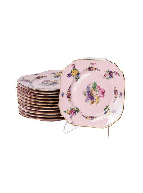 An Edwardian Set of 12 Bavarian Hand Painted Square Desert Plates