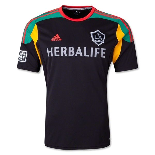 L.A. Galaxy 2014 Alternative 3rd Kit - Solid black with green shoulders,  yellow armpits