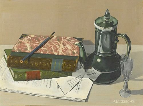 Fritz Bitterli    Still Life with Books and Coffee Pot    1963