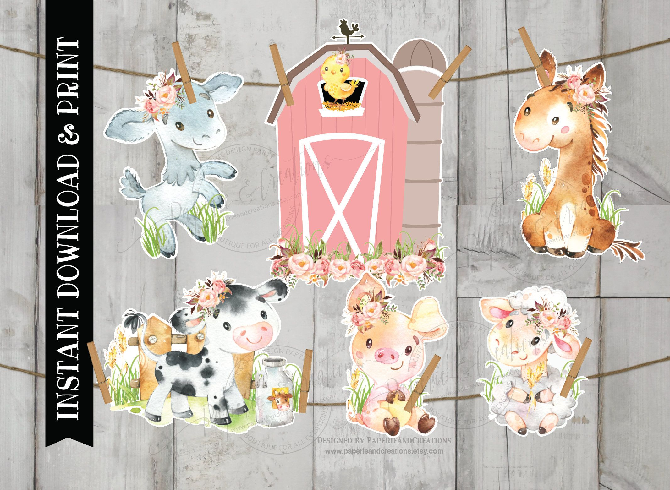 Large Farm Animals Birthday Decor Farm Centerpiece Pink Barnyard