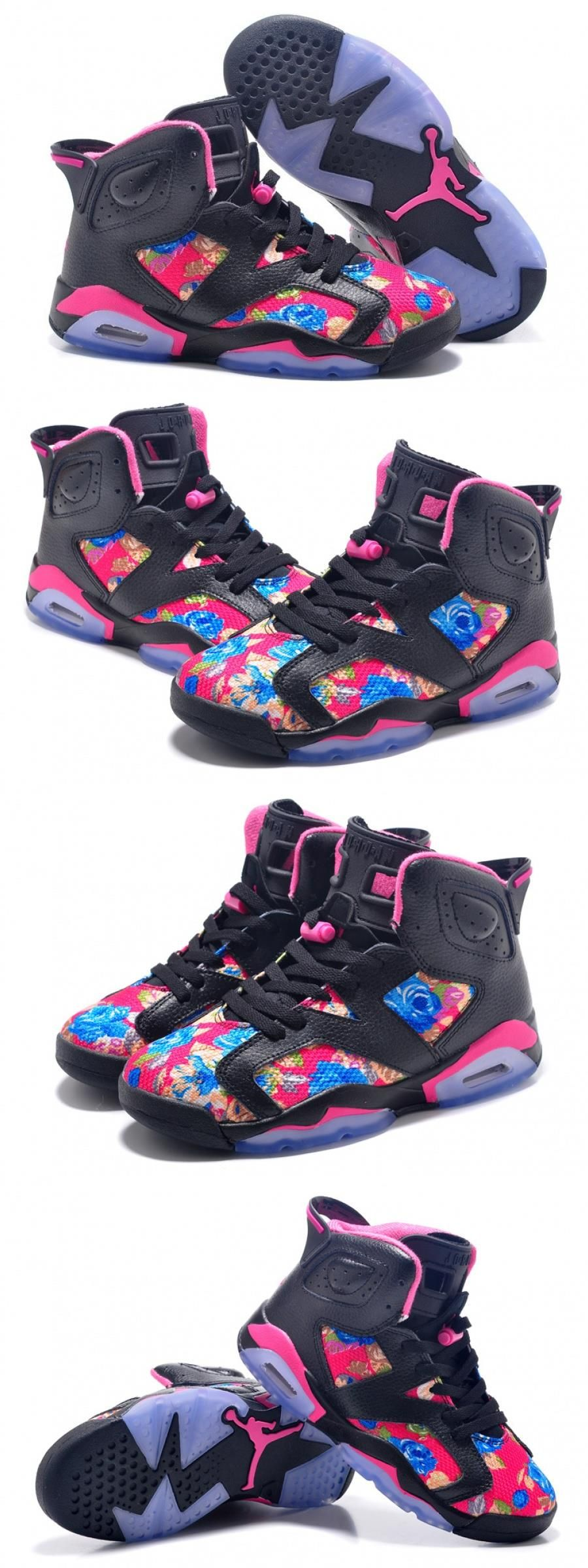 "Air Jordan 6 Gs ""floral Print"" Black Pink Shoes For Pink"