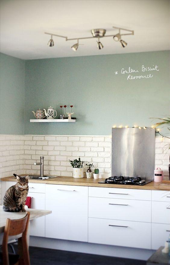 Cuisine Blanc Laque Plan Travail Bois Couleur Ressource Vert
