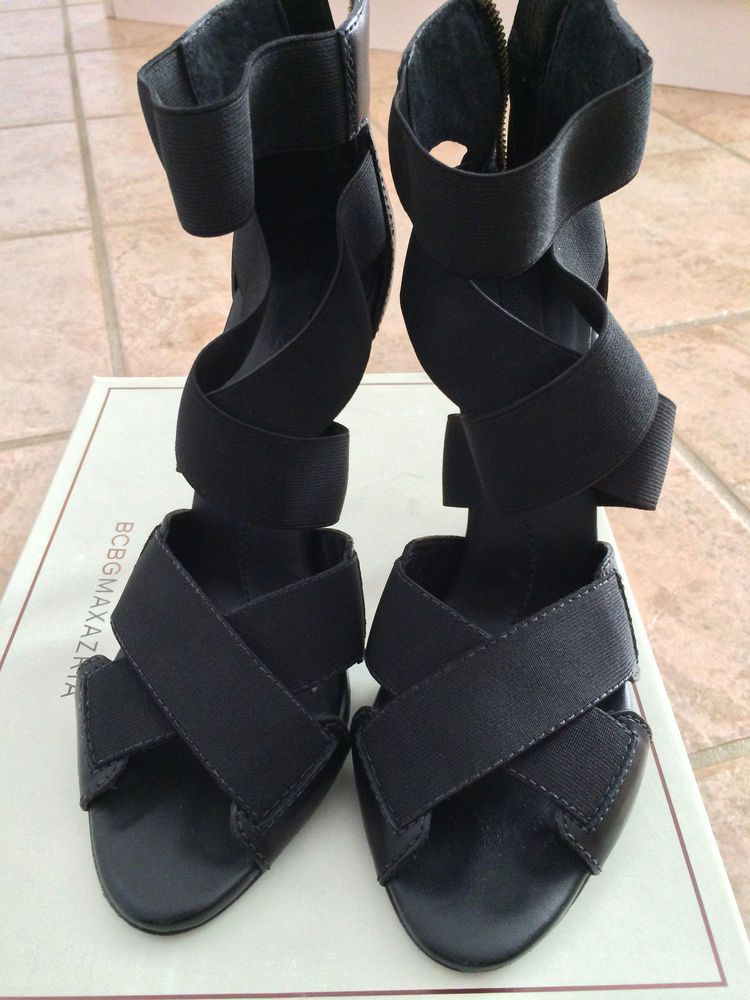ac554c2726c8 BCBG MAXAZRIA CHRISTINA Black Strappy Womens Designer Shoes Sandals 8.5 EU  37.5  BCBGMaxAzria  Sandals