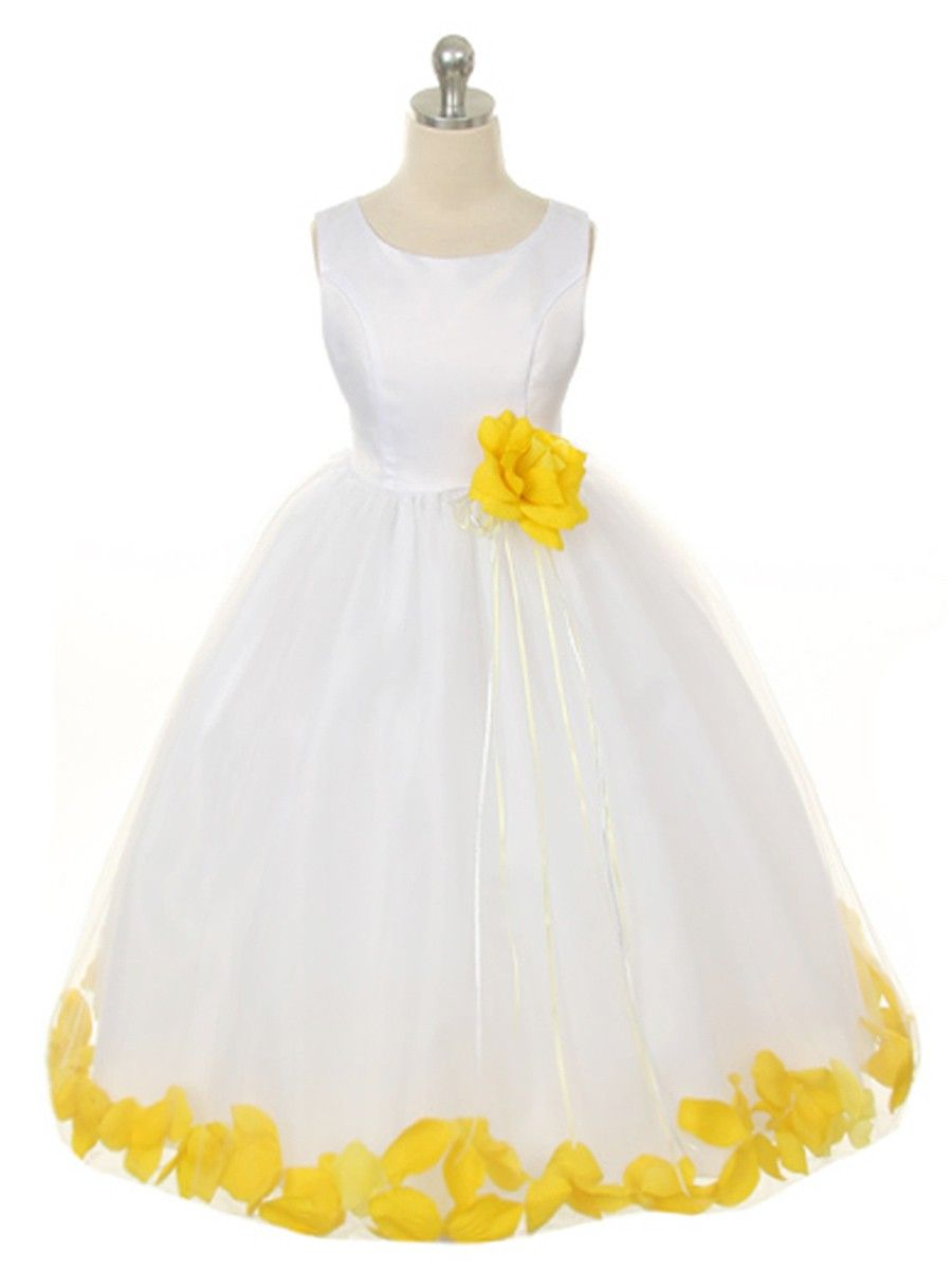 8a56d2d8b00 WHITE DRESS WITH YELLOW PETALS