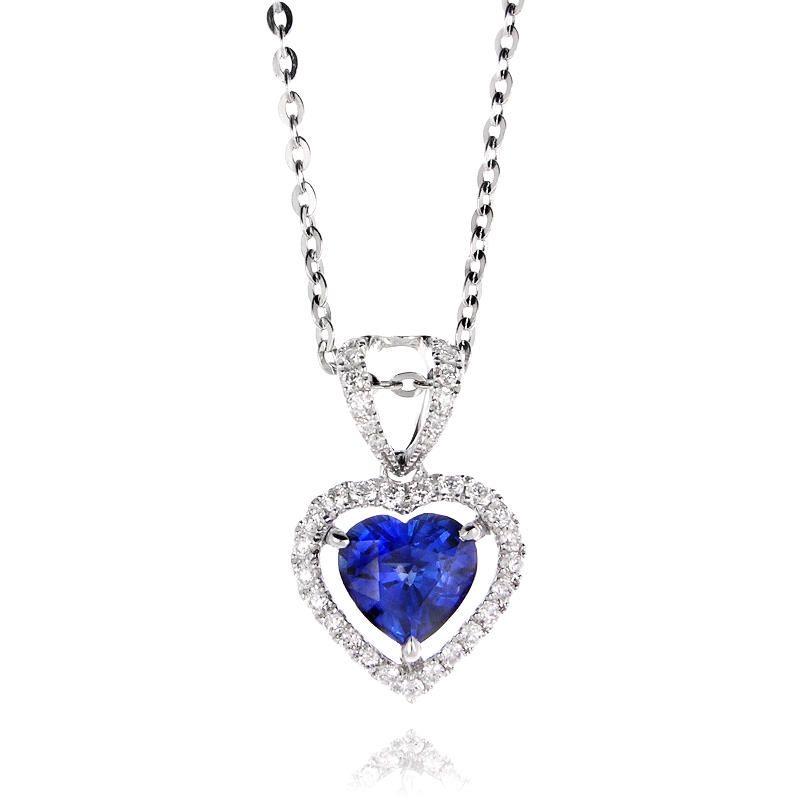 21ct diamond and blue sapphire 18k white gold heart pendant necklace hidalgo pendant jewelry diamond and blue sapphire 18k white gold heart pendant necklace aloadofball Image collections