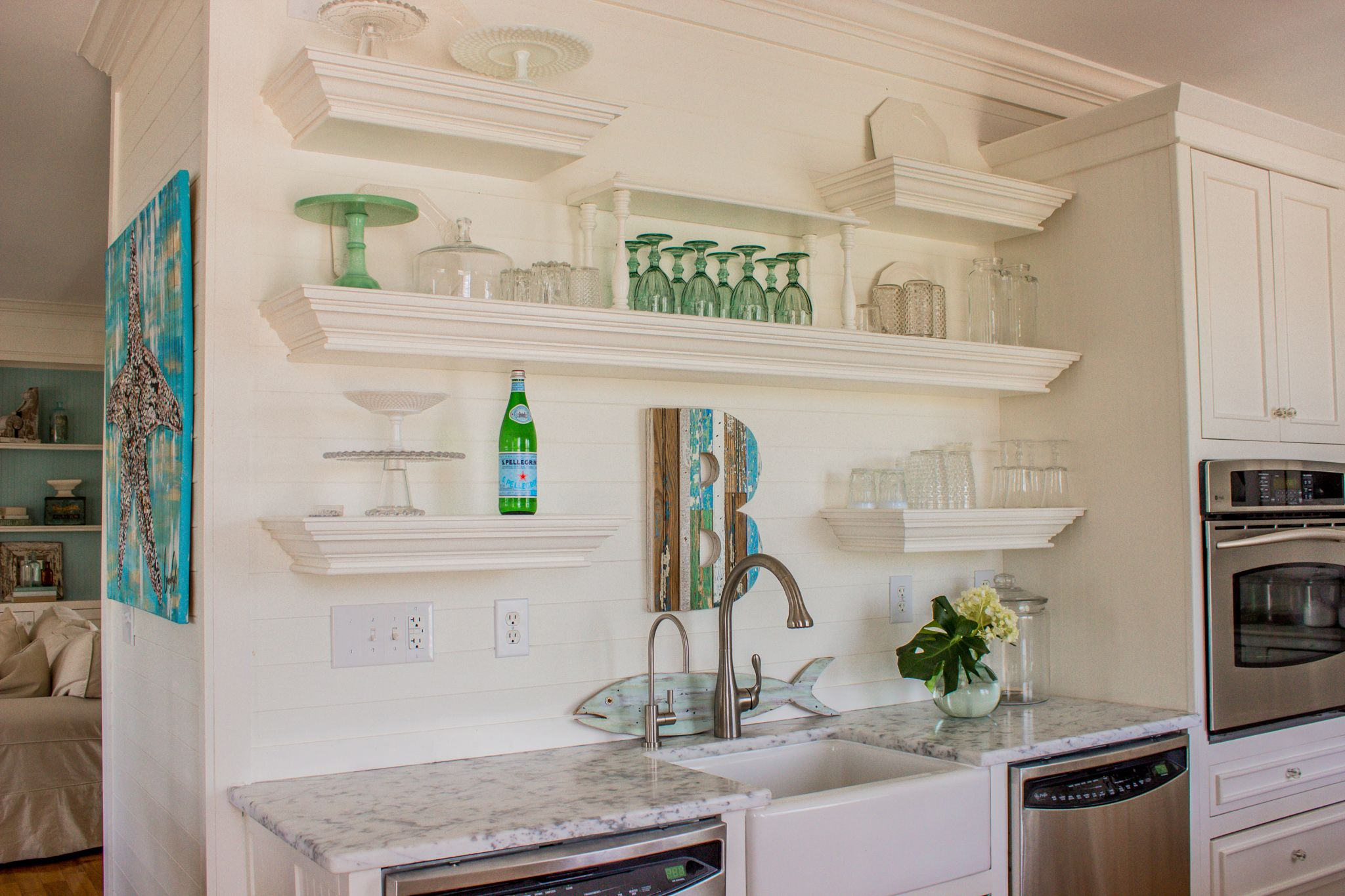 Open Shelving Coastal Kitchen With Images Beach Cottage Decor