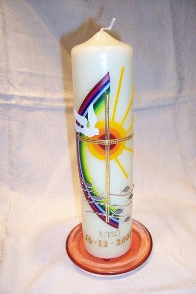 Taufkerze Regenbogen Sonne Motiv Taufkerze Erstkommunion Kerze Kerzen Basteln