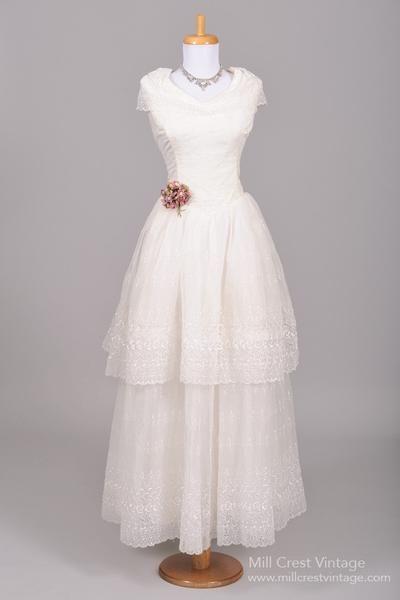 1950 Eyelet Chiffon Vintage Wedding Gown - Mill Crest Vintage ...