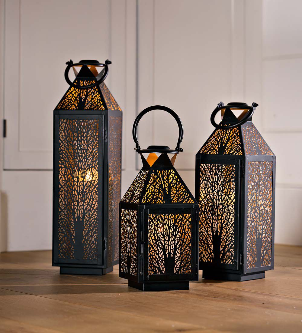 The Look Of Our Metal Lantern With Tree Design Will Enhance Any Mantel Tabletop Hearth And More This Lantern With Metal Lanterns Candle Lanterns Lantern Set