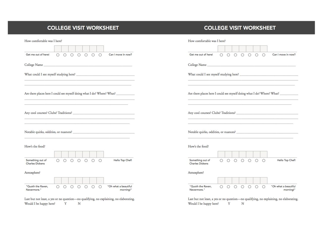 Check Out This College Visit Worksheet And Pick Up A Copy