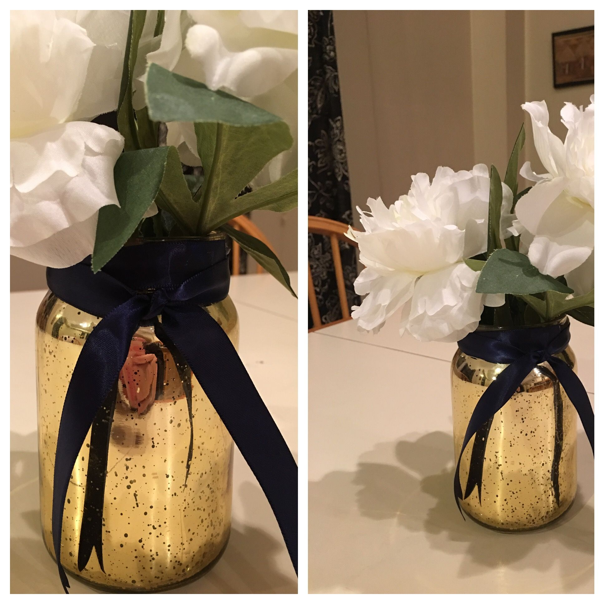 White peonies from Michaels with a couple of drops of cherry vanilla essential oil.   Mercury glass jars in gold from Joanns.... battery operated votives make them glow.  Navy ribbon with double sided tape to hold it on the rim