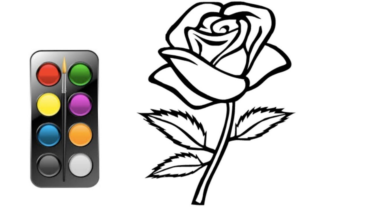 Rose Coloring And Drawing For Kids Flower Coloring Pages Kids Coloring Rose Drawings Flower Coloring Pages Drawing For Kids Flower Child