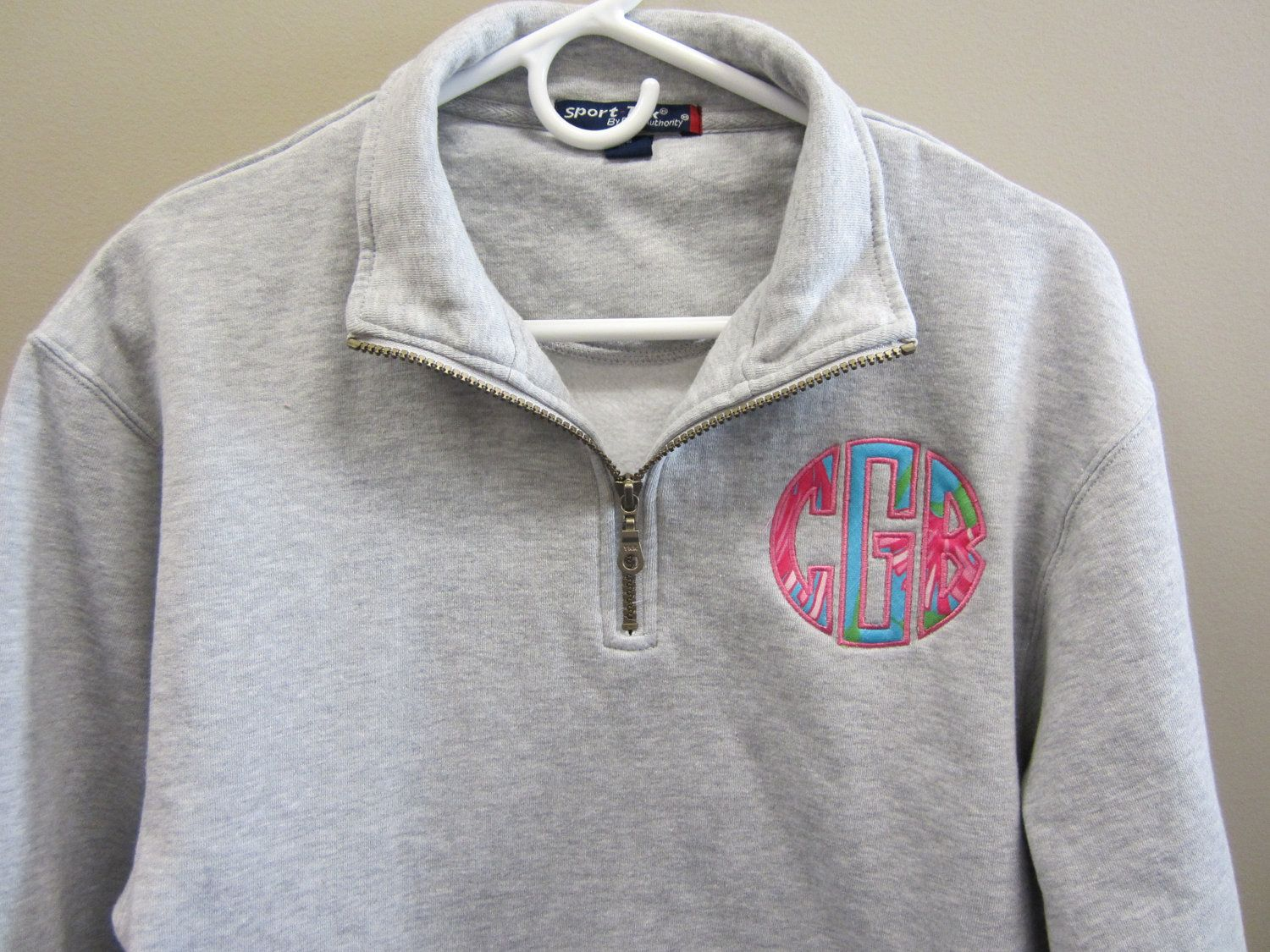 Applique Monogrammed Half Zip Sweatshirt. $40.00, via Etsy. | My ...