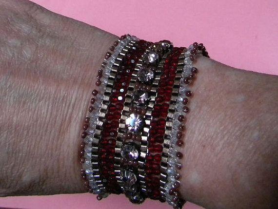 Stunning Vintage Beaded Rhinestone Flapper Bracelet by RuinsCa, $65.00