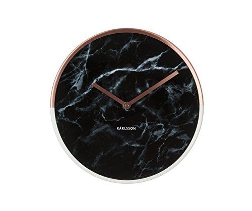 Black Marble Effect Wall Clock With Copper And White Chrome Rim Black Wall Clock Wall Clock Copper Wall Clock