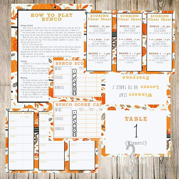 Thanksgiving Fall Autumn Friendsgiving Bunco Printable Set - sample football score sheet