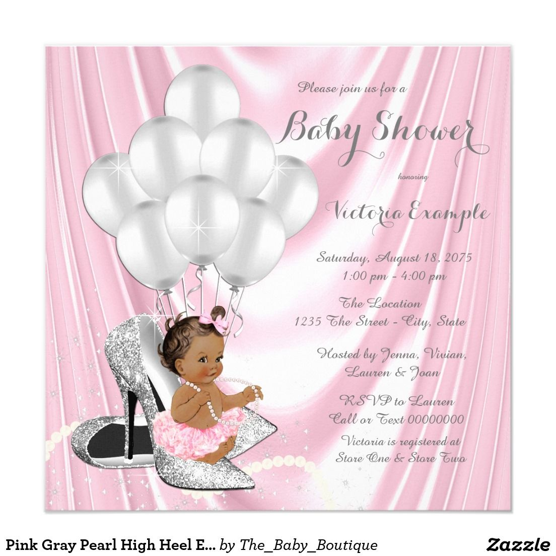 Pink Gray Pearl High Heel Ethnic Baby Shower Invitation | Ethnic ...