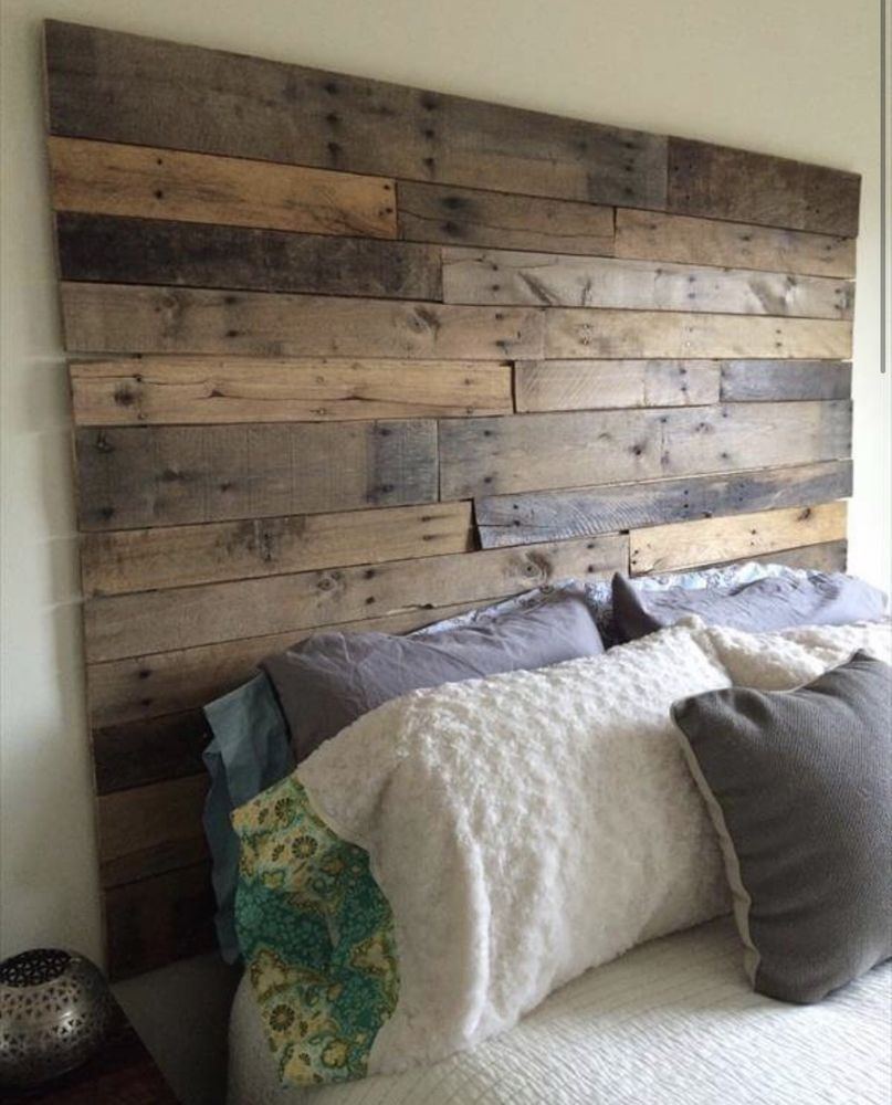King Size Bed Reclaimed Pallet Wood Diy Rustic Headboard 78 Wide
