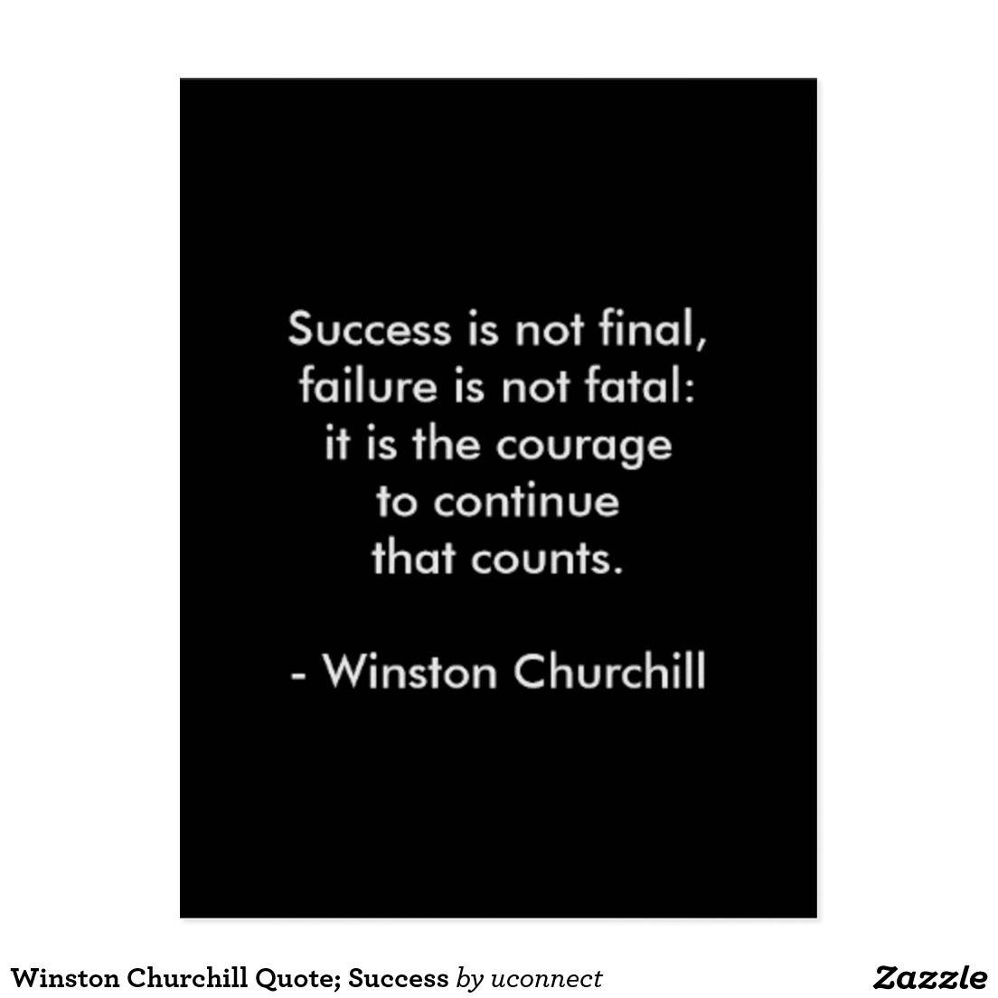 Winston Churchill Quote Success Postcard Churchill Quotes Winston Churchill Quotes Quote Posters