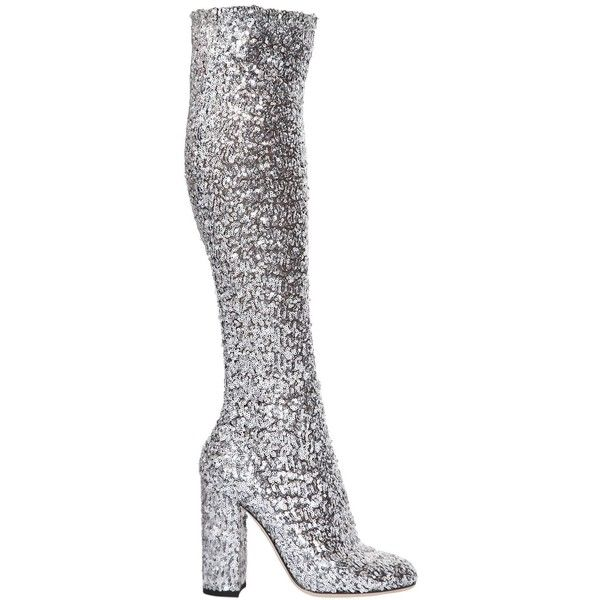 eaf263a8e48 Dolce   Gabbana Women 90mm Stretch Sequins Over The Knee Boots ( 880) ❤  liked on Polyvore featuring shoes