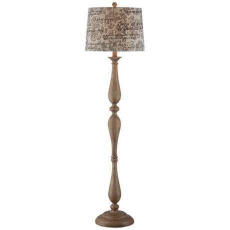 Faux Weathered Wood French Script Floor Lamp Has Such A Pretty