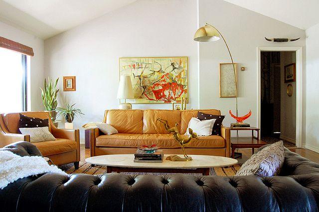 Living Room Light Greige Walls Warm Caramel Leather