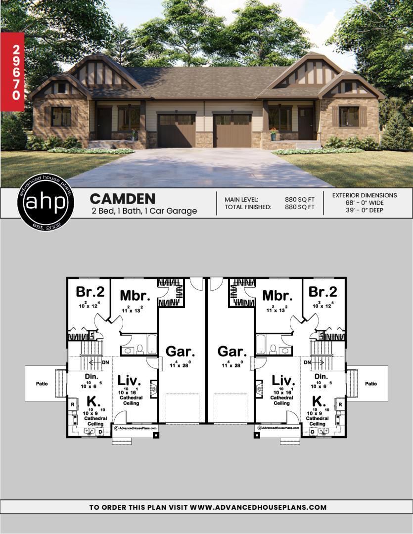 Multi Family House Plan Camden Family House Plans House Plans Duplex House Plans