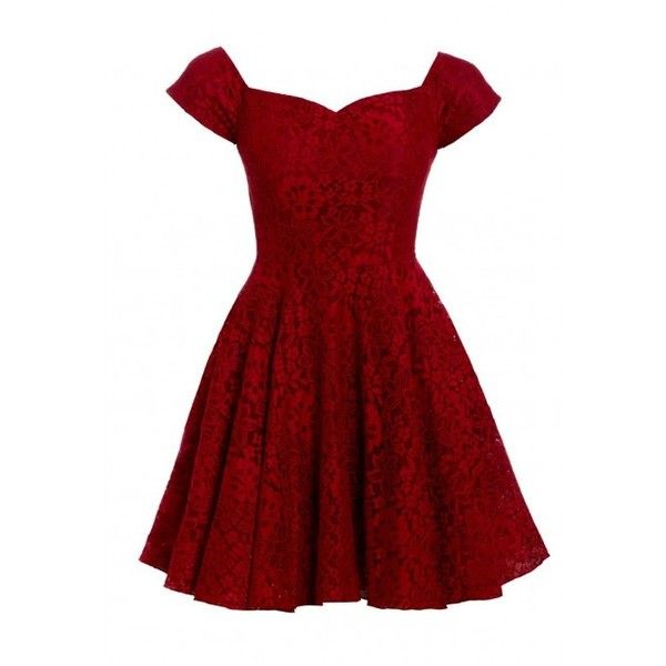 87668804658624 D.Anna Cap Sleeve Lace Skater Dress in Red ($72) ❤ liked on Polyvore  featuring dresses, red lace dress, red skater dress, skater dress, little  black dress ...