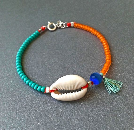 Cowrie Shell bracelet – Turquoise and orange – Turquoise tassel – Natural cowrie shell – Sterling silver – Handmade