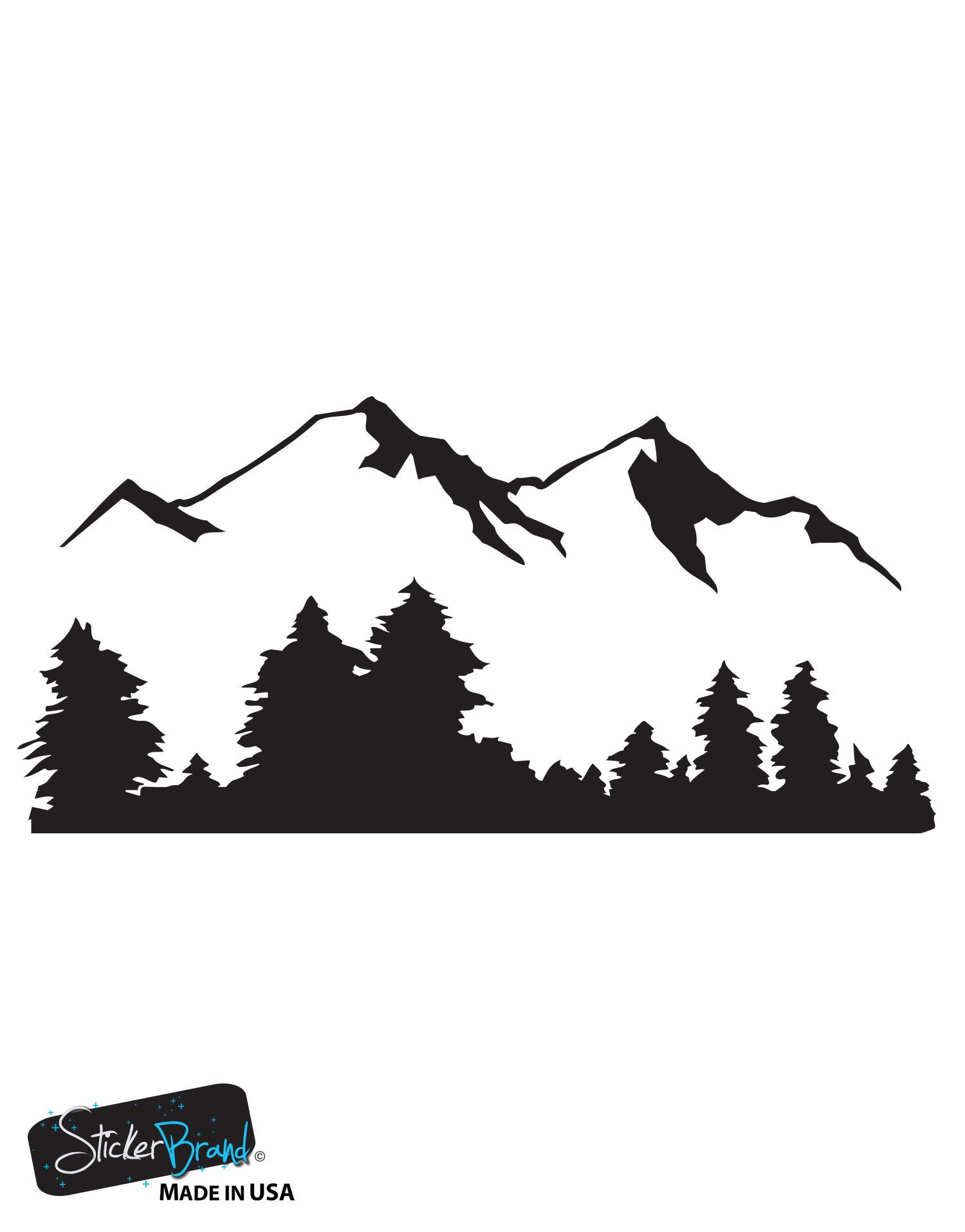 Snow Mountain View Wall Decal Sticker Includes Forest