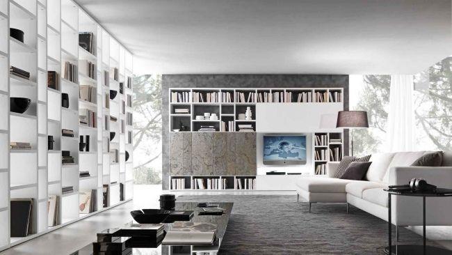 Wandgestaltung Wohnzimmer-Bücher Regale-Weiß italienisches Design - wohnzimmer italienisches design