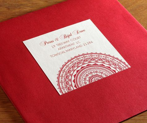 Red Envelope With Matching Address Label For Custom Wedding Invitations In