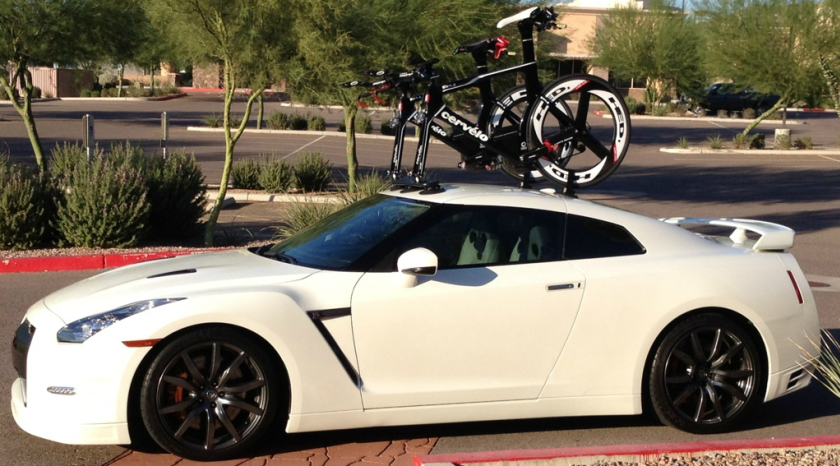 Nissan Gtr With A Seasucker Mini Bomber Bike Rack 2 Bike Rack