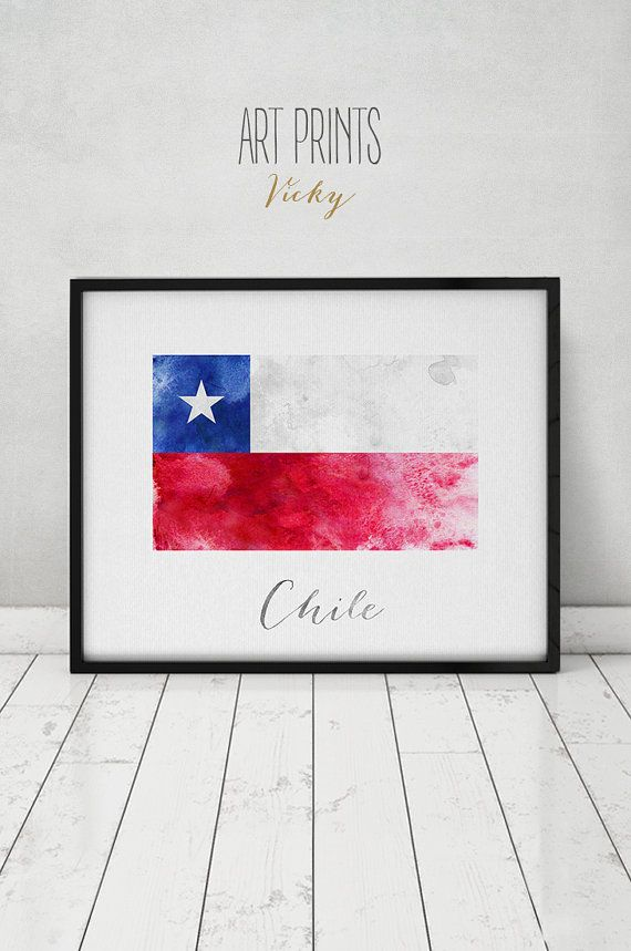 Chile Flag Print Chile Art Poster Watercolor Travel Wall Etsy American Flag Painting Poster Art Flag Painting
