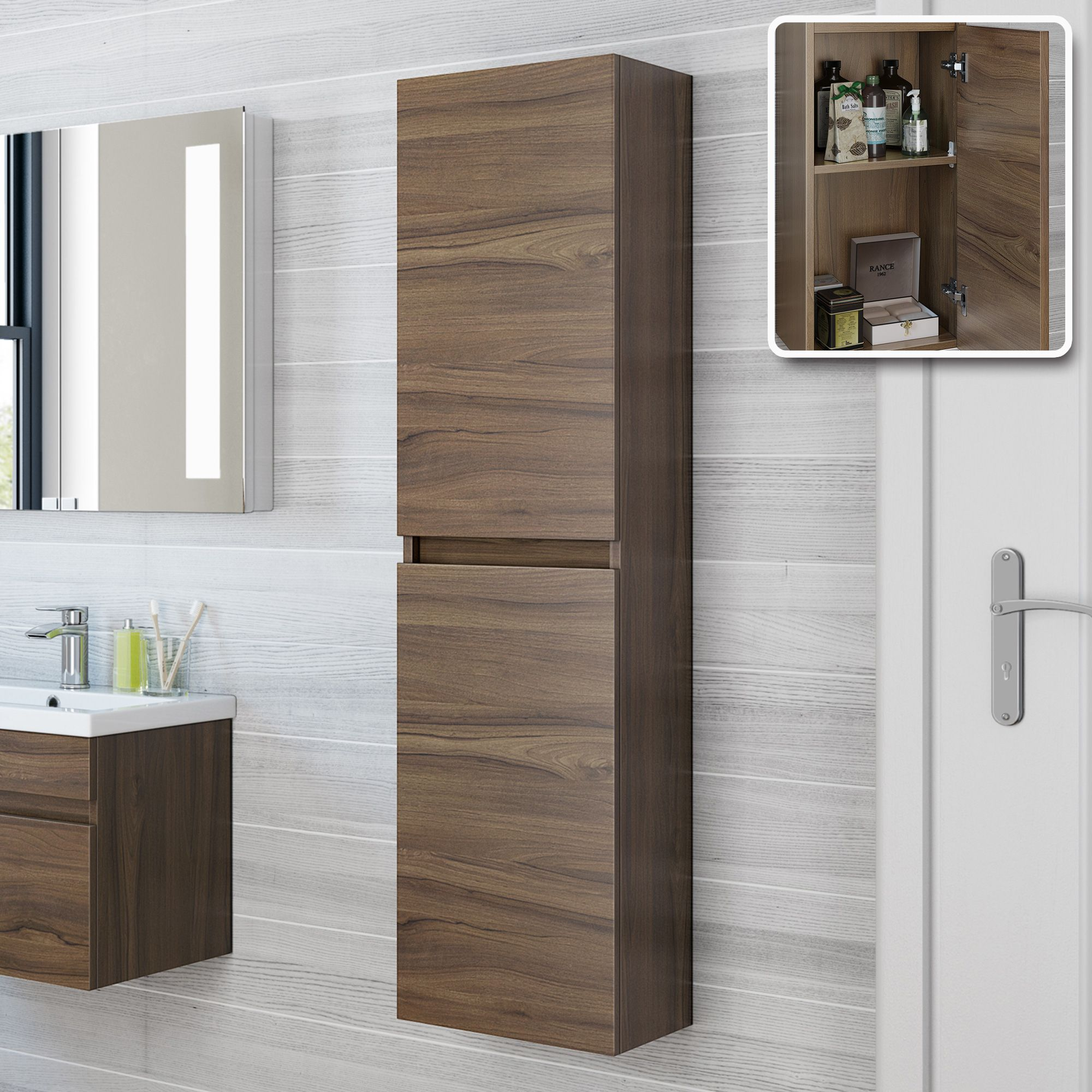 1400mm Walnut Tall Wall Mounted Cabinet Trent Bathempire Tall Cabinet Storage Bathroom Wall Units Bathroom Storage Cabinet