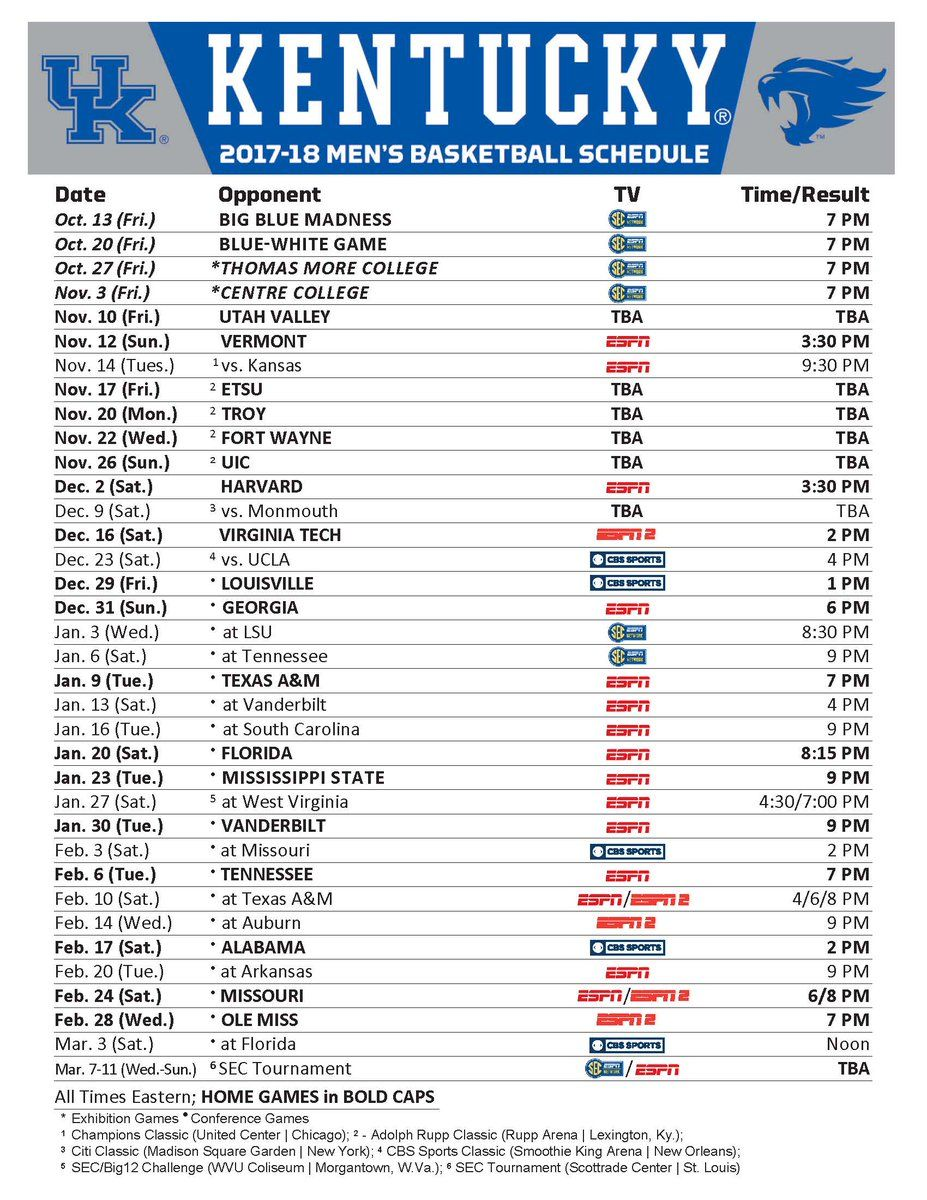 Embedded Basketball schedule, Kentucky, Kentucky