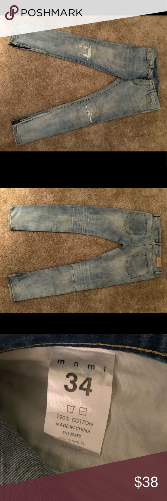 4bc3e252628 Mnml m4 denim Selling a pair of mnml m4 blue denim jeans. Like new condition.  mnml Jeans Skinny