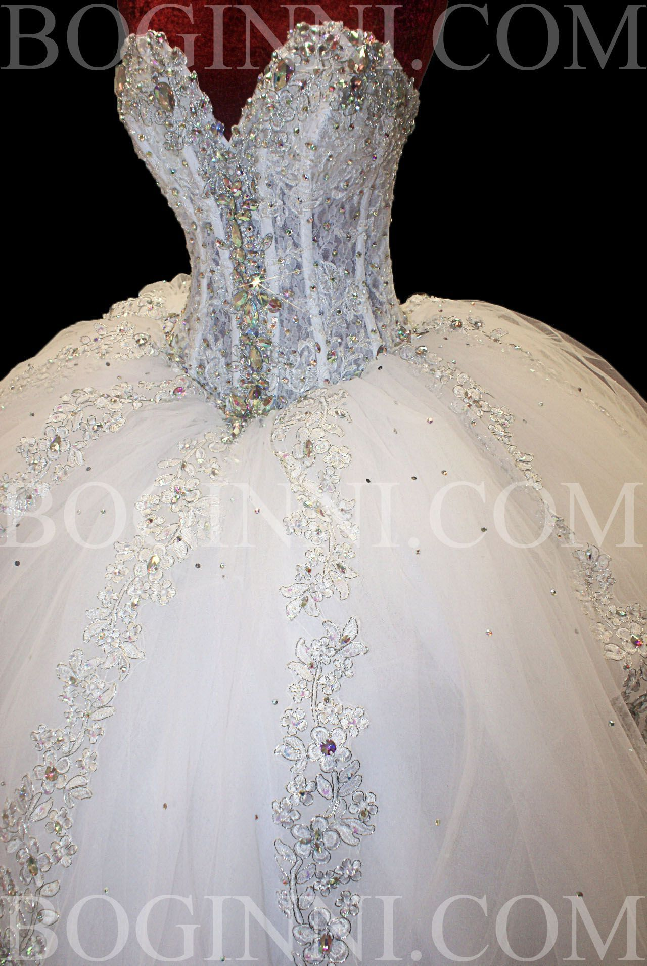 WHITE AB CRYSTAL LACE CORSET SWAROVSKI WEDDING DRESS