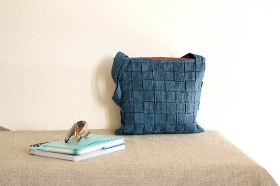 blue jeans braided tote bag summer 2014 ooak by TheColourLab, €55.00