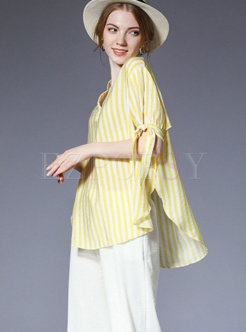 440f77bfec Shop for high quality Yellow Casual Striped Bowknot Plus Size Blouse online  at cheap prices and discover fashion at Ezpopsy.com