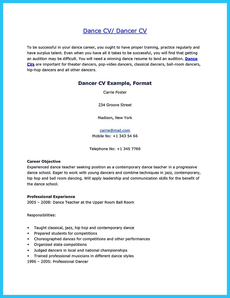 Awesome The Best And Impressive Dance Resume Examples Collections Dance Resume Resume Examples Business Resume