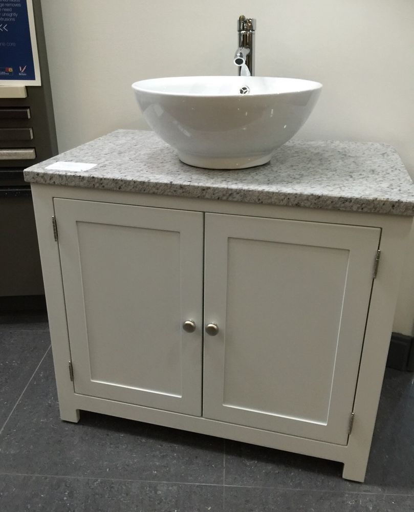 White Granite Top Painted Vanity Unit 800mm Wide Bathroom Wash Stand Cabinet Bathroom Ensuite