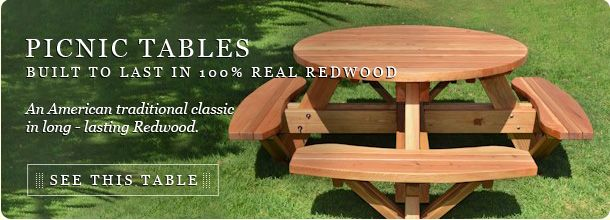 Redwoodpicnic Tables By Www Foreverredwood Com Wooden Tables Wood Picnic Tables Html Outdoor Furniture Diy Picnic Table Outdoor Picnic Tables Round Pic