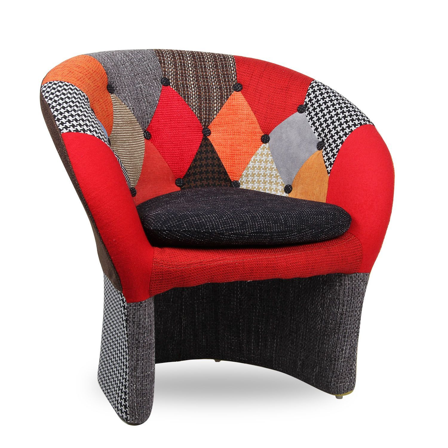 Sill n the name tapizado mix patchwork sillones - Sillones de tela ...